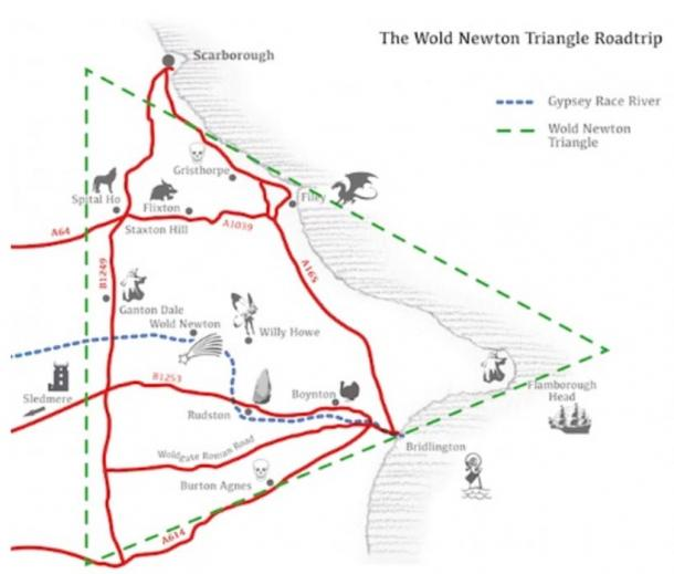 Wold Newton Triangle map